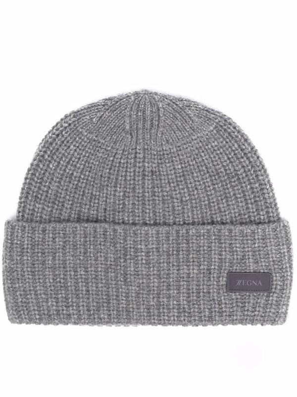 Ermenegildo Zegna Ribbed-knit Cashmere Beanie In Grau