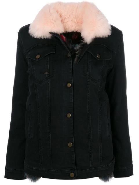 63a387aad22 Fox-Fur-Lined Denim Jacket in Black