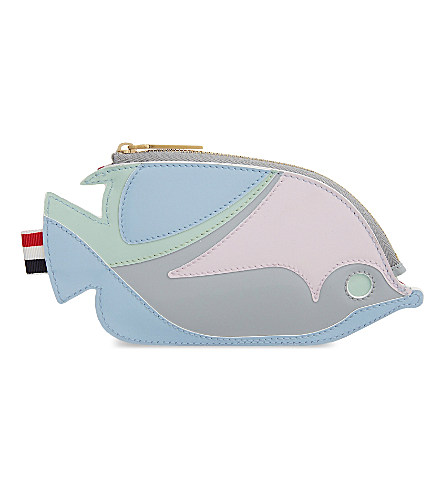 ecaa873f1 Thom Browne Multi-Coloured Fish Leather Clutch In Light Blue Mix ...