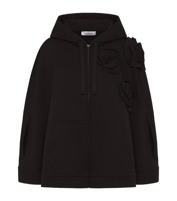 Valentino Rose Blossom Logo Hoodie In Black