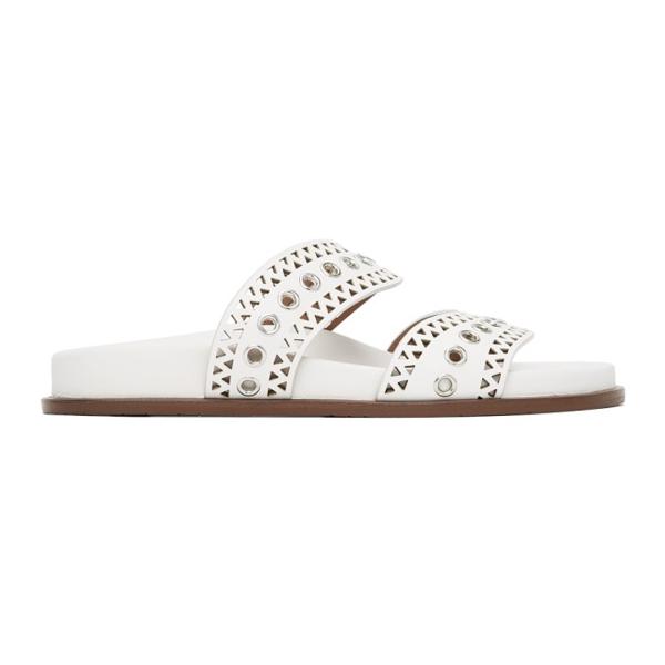 Alaïa Leather & Grommet Mule Slide Sandals In 020 Blanc Casse