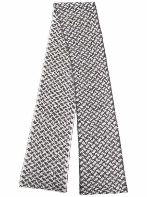 Drumohr Geometric-print Cashmere Scarf In Grau