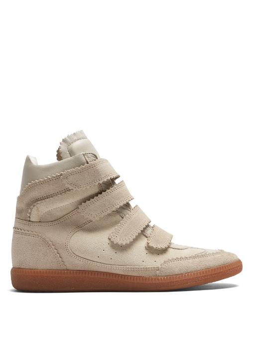 Isabel Marant Bilsy Concealed-Wedge Suede Trainers In Cream