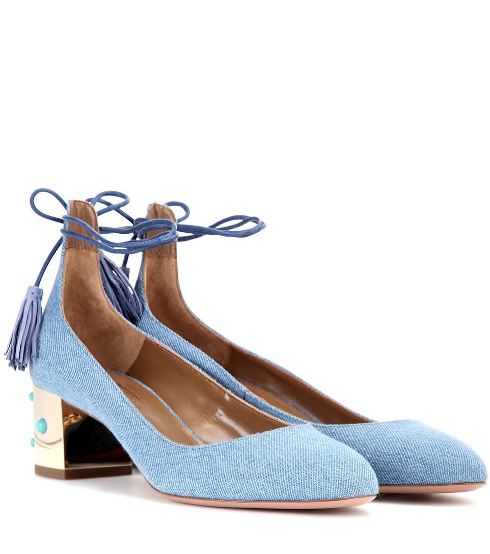 Aquazzura Cleopatra 50 Embellished Fabric Sandals