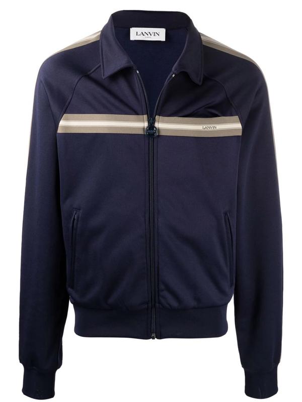 Lanvin Stripe Detail Zipped Jacket In Blau