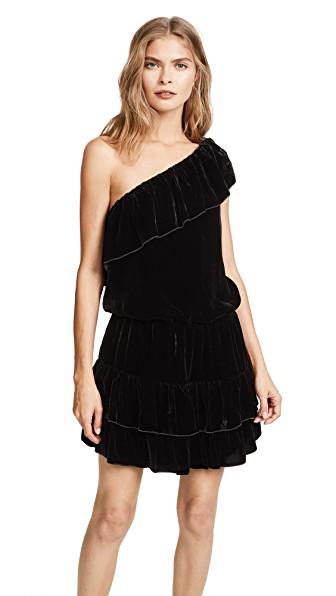Joie Kolda B Ruffled One-shoulder Velvet Mini Dress In Caviar