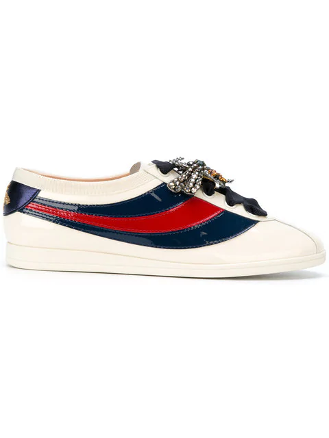 Gucci Falacer Leather Crystal-Embellished Sneakers In 9066
