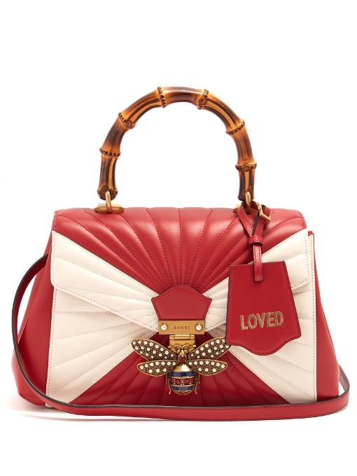 541ffd07c2f Gucci - Queen Margaret Bamboo Handle Leather Shoulder Bag - Womens - Red  White