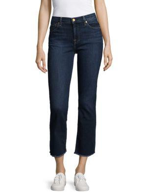 7 For All Mankind Cropped Boot Jeans In Lily Dark Blue