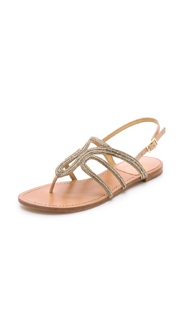 Stuart Weitzman 'Thongshow' Crystal PavÉ Micro Chain Leather Sandals In Gold/Crystal