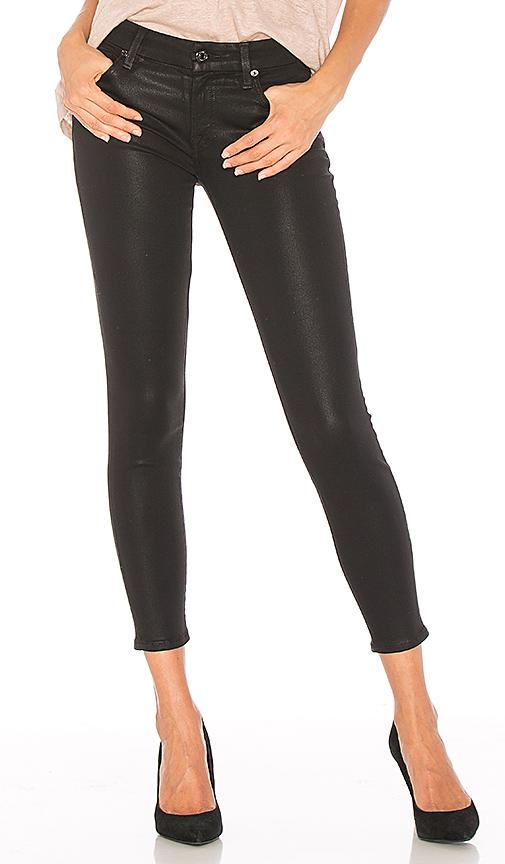 7 For All Mankind The Ankle Skinny In Black Coated Fashion