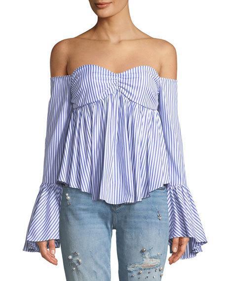 6a5450caaac CAROLINE CONSTAS. Woman Max Off-The-Shoulder Striped Cotton-Poplin Top ...