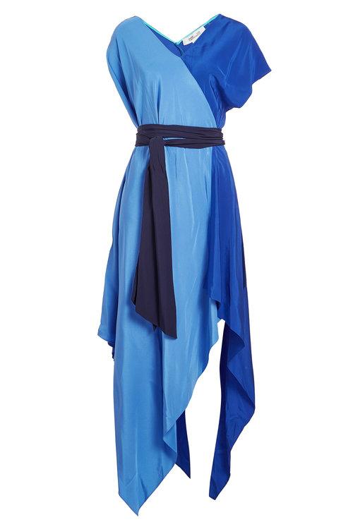 4f85f6d2d4486 Diane Von Furstenberg Handkerchief Hem Silk Scarf Dress In Blue ...