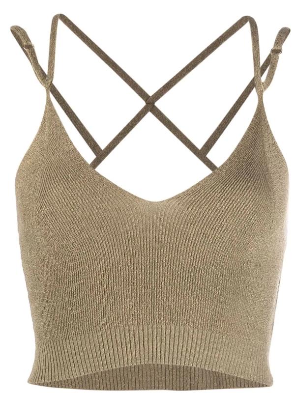 Jacquemus La Maille Aneto' Double Shoulder Strap Sleeveless Linen Knit Top In Grün