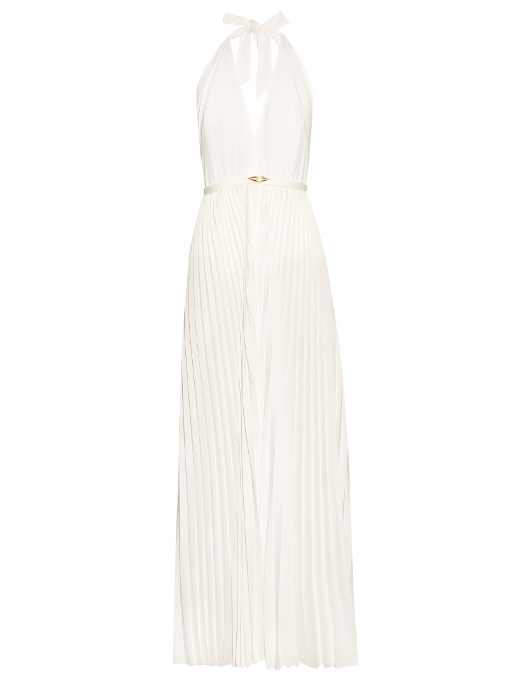 Adriana Degreas Lips Halterneck Pleated Jumpsuit In White