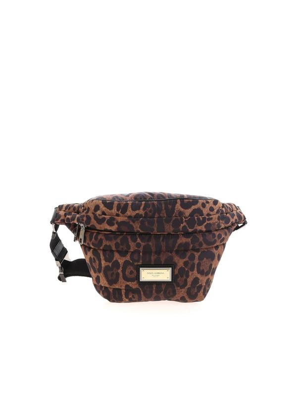 Dolce & Gabbana Sicily Animal Print Pouch Pocket In Brown