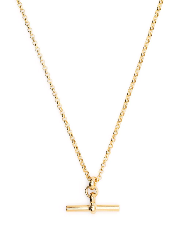 Tilly Sveaas Small Gold T-bar Necklace On Fine Gold Belcher Chain