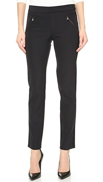 Rebecca Taylor Ava Slim-Leg Techno Pants In Black