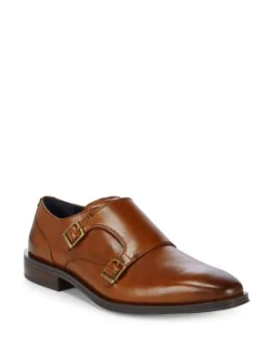 Cole Haan Dawes Double Monk-strap Leather Oxfords In British Tan