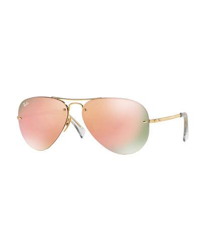 85e912cb174 Ray Ban Ray-Ban Unisex High Street Mirrored Rimless Aviator Sunglasses