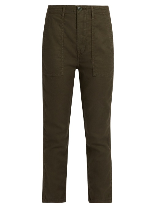 The Great The Slouch Armies Cropped Trousers In Dark Khaki