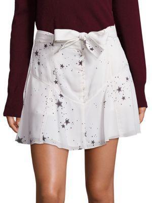 A.L.C Woman Jilian Belted Printed Silk Crepe De Chine Mini Skirt White In Eggshell