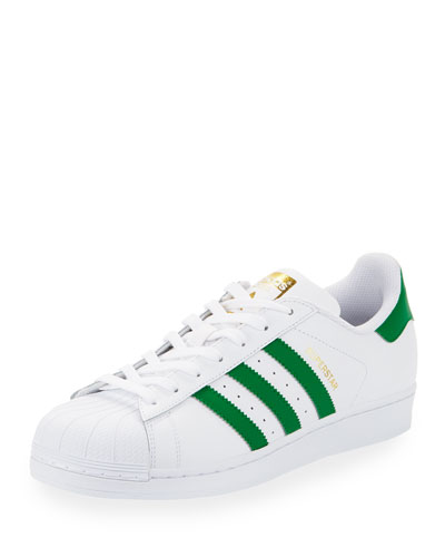 Adidas Men's Superstar Adicolor Casual Sneakers From Finish Line In Whitegreen