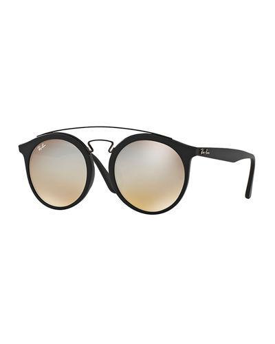 eada33f20650b Ray Ban Men s Round Double-Bridge Mirrored Acetate Sunglasses In Black