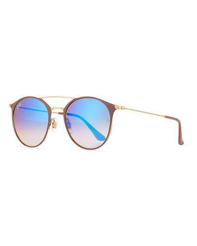 f18ca23c570 Ray Ban Mirrored Iridescent Round Double-Bridge Flash Sunglasses In Gold   Beige
