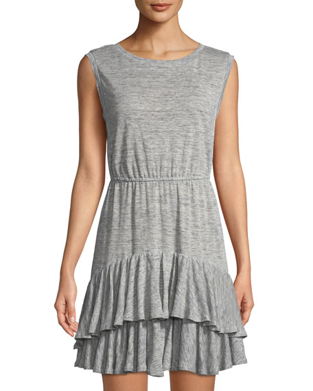 Rebecca Taylor Short-sleeve Tiered Jersey Tank Dress, Gray