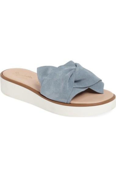 5e738b827a07 Seychelles Coast Knotted Slide Sandal In Blue Suede. SEYCHELLES