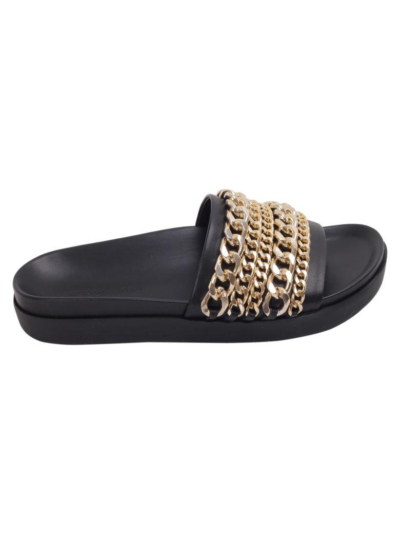 a4c6f01f0 Kendall + Kylie Shiloh Chain Link Platform Slide In Black/ Gold Leather