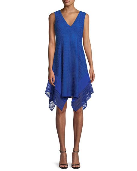 348b30b1c1cc Derek Lam 10 Crosby Woman Crepe De Chine-Paneled Guipure Lace Dress Cobalt  Blue