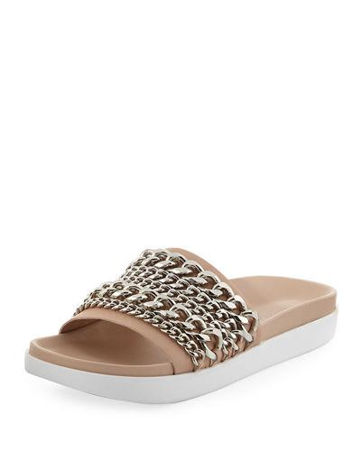 c9815689b Kendall + Kylie Shiloh Chain-Trim Slide Sandal In Light Natural ...
