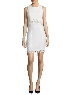 Shoshanna Solid Popover Cropped Dress In Optic White