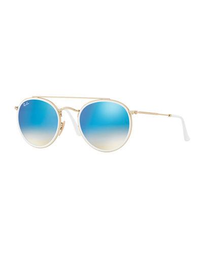 db079df56e Ray Ban Ray-Ban Flat Lens Gold Round Sunglasses - Rb3647N In Gold Blue
