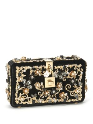 a7de367a901 Dolce & Gabbana Dolce Box Bag In Velvet With Crystals In Black ...