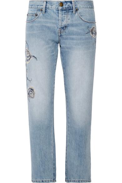 Current Elliott Current/Elliott Woman The Crossover Embroidered Mid-Rise Straight-Leg Jeans Light Denim In Mid Denim