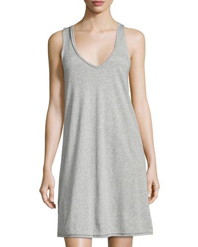 Skin Sleeveless Jersey Nightgown, Light Gray In Heather Grey