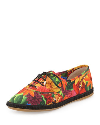Charlotte Olympia Maria Floral-Print Lace-Up Flat Espadrille In Multi Colors
