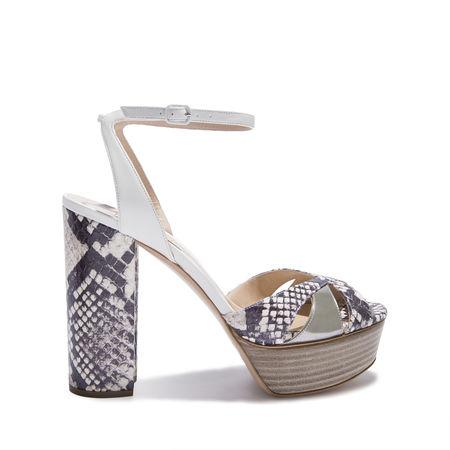 Casadei Chance Platform 120 Sandal In White And Roccia
