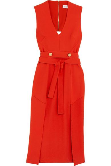 Rebecca Vallance BeltrÁn Belted Cutout Crepe Midi Dress In Red