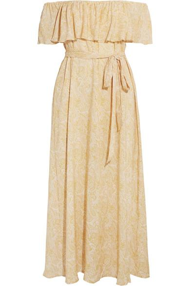 Eberjey Sunrise Paisley Florence Off-the-shoulder Voile Midi Dress In Gold