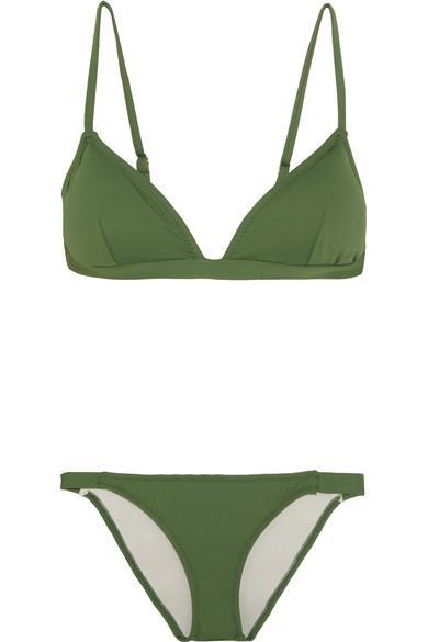 Eberjey So Solid Taylor Triangle Bikini In Dark Green