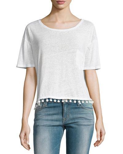 Rails Billie Pompom Short-sleeve Tee In White