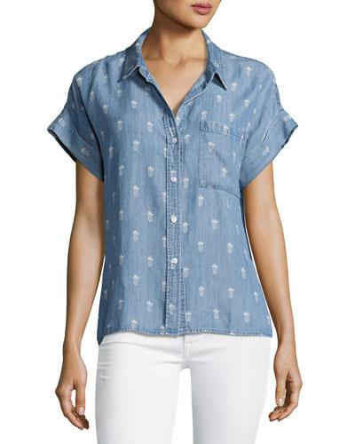 Rails Whitney Baby-pineapple Chambray Top In Blue Pattern