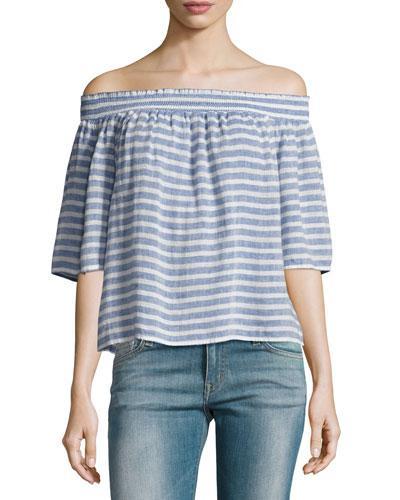 Rails Isabelle Off-the-shoulder Striped Linen Top In Blue Pattern