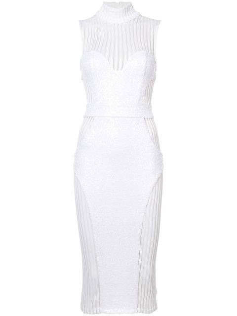 Zhivago Sheer Panel Fitted Dress In White