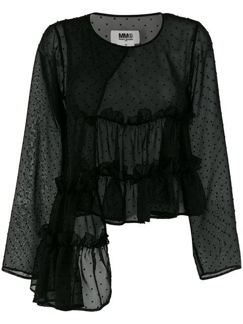 Mm6 Maison Margiela Asymmetric Frill Blouse - Black
