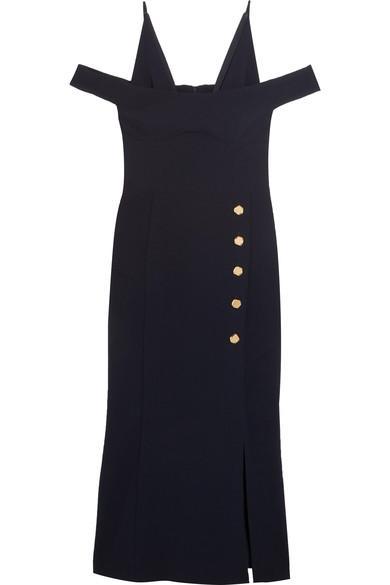 Rebecca Vallance BeltrÁn Cold-shoulder Crepe Midi Dress In Uk6